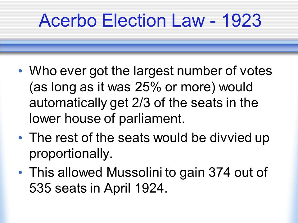 Acerbo Election Law - 1923