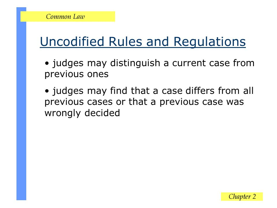 Uncodified Rules and Regulations