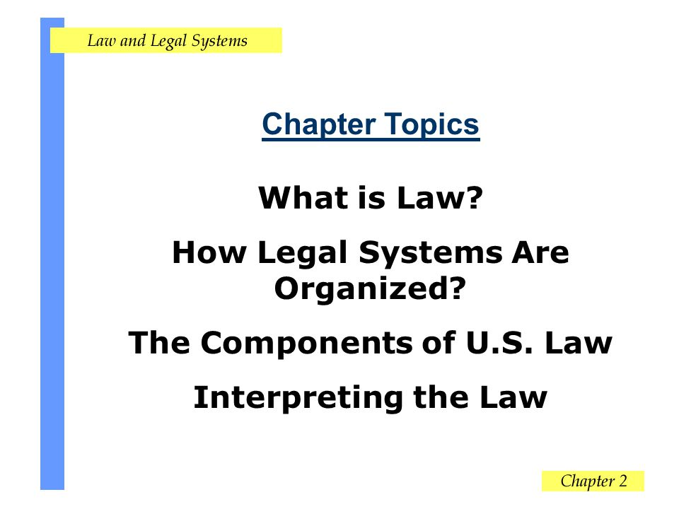 How Legal Systems Are Organized The Components of U.S. Law