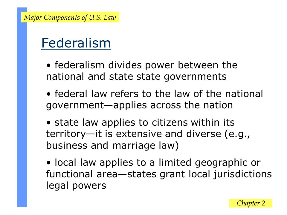 Federalism federalism divides power between the national and state state governments.