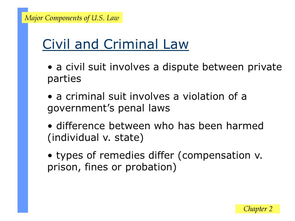 Civil and Criminal Law a civil suit involves a dispute between private parties. a criminal suit involves a violation of a government's penal laws.