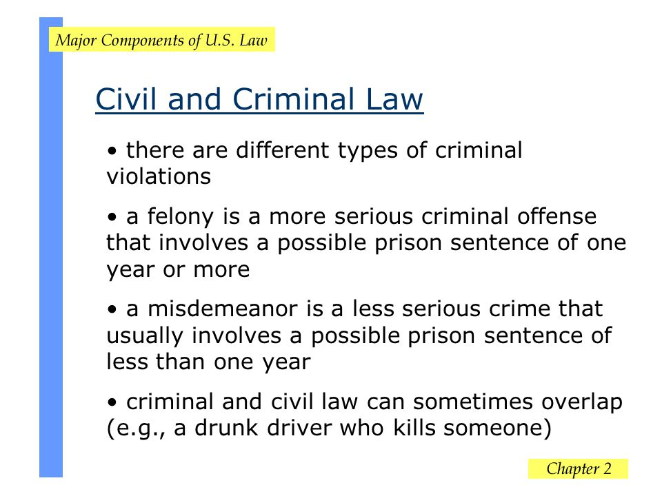 Civil and Criminal Law there are different types of criminal violations.