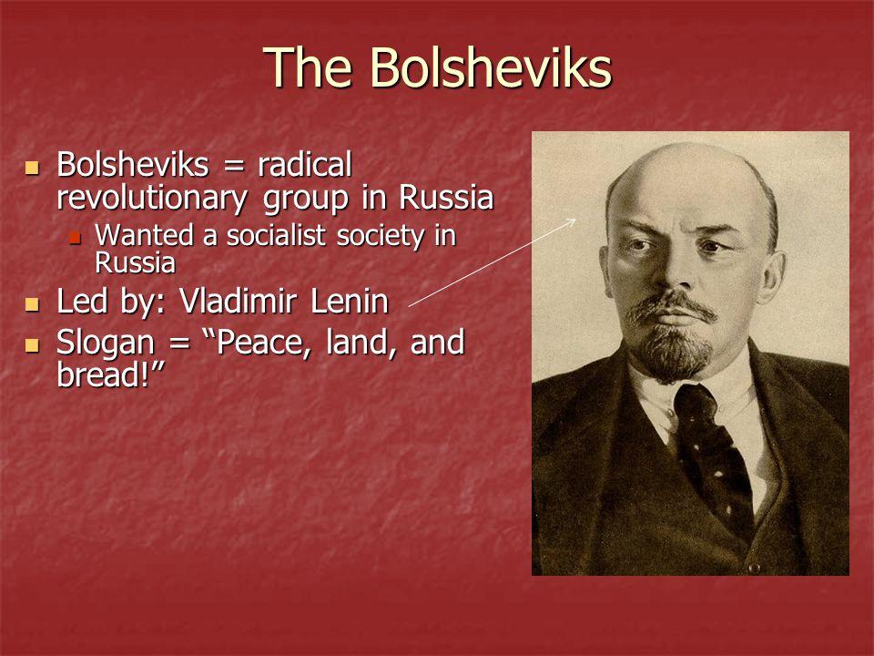 The Bolsheviks Bolsheviks = radical revolutionary group in Russia