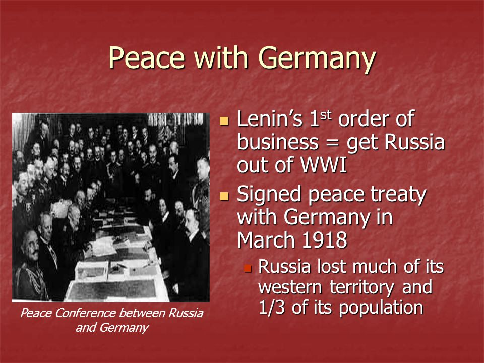 Peace Conference between Russia and Germany