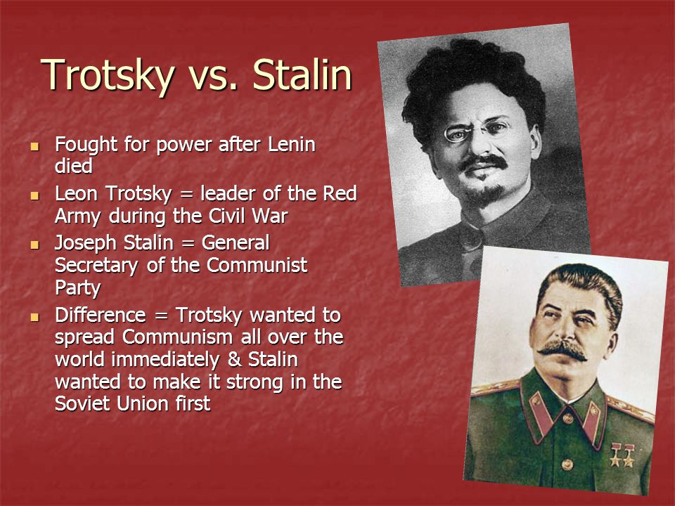 Trotsky vs. Stalin Fought for power after Lenin died