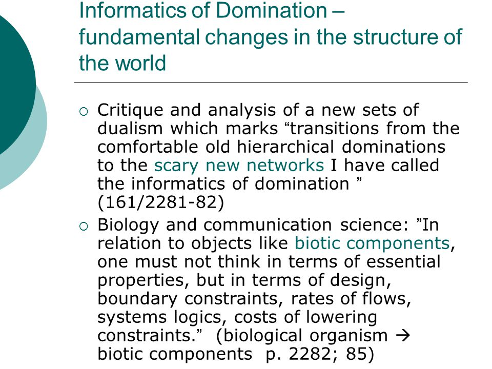Informatics of Domination – fundamental changes in the structure of the world