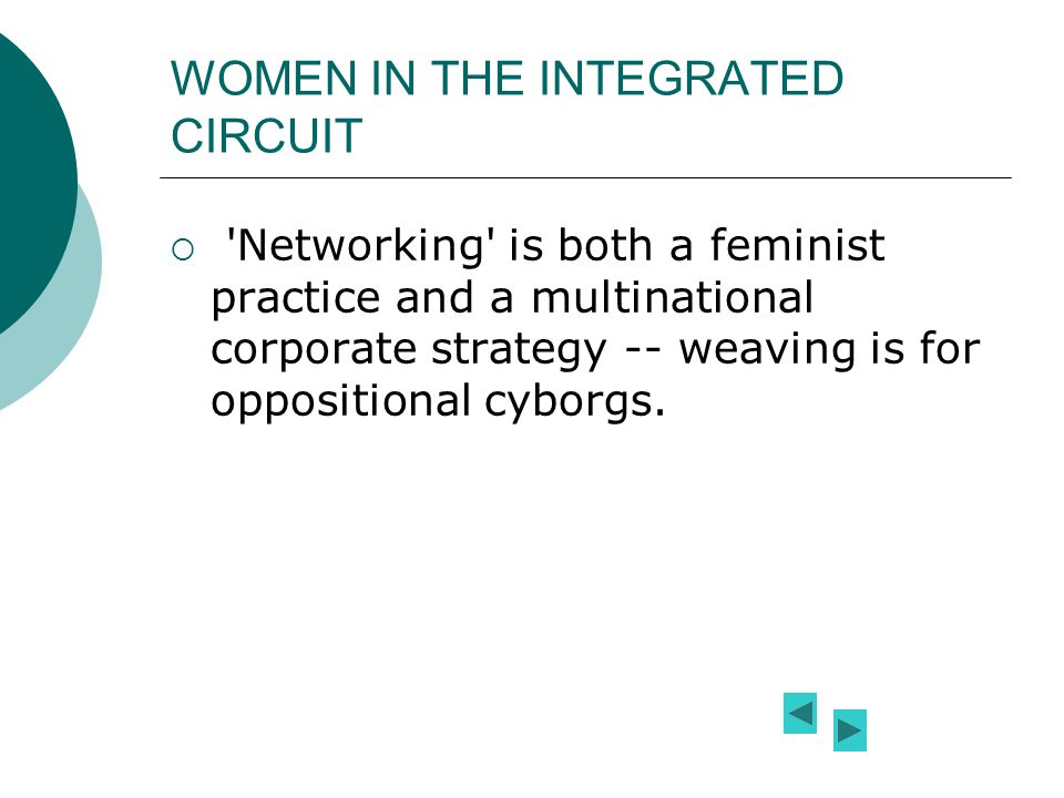 WOMEN IN THE INTEGRATED CIRCUIT