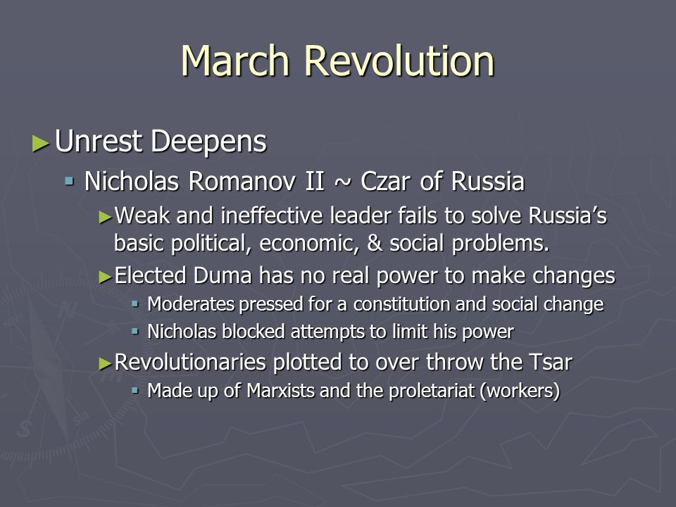 March Revolution Unrest Deepens Nicholas Romanov II ~ Czar of Russia