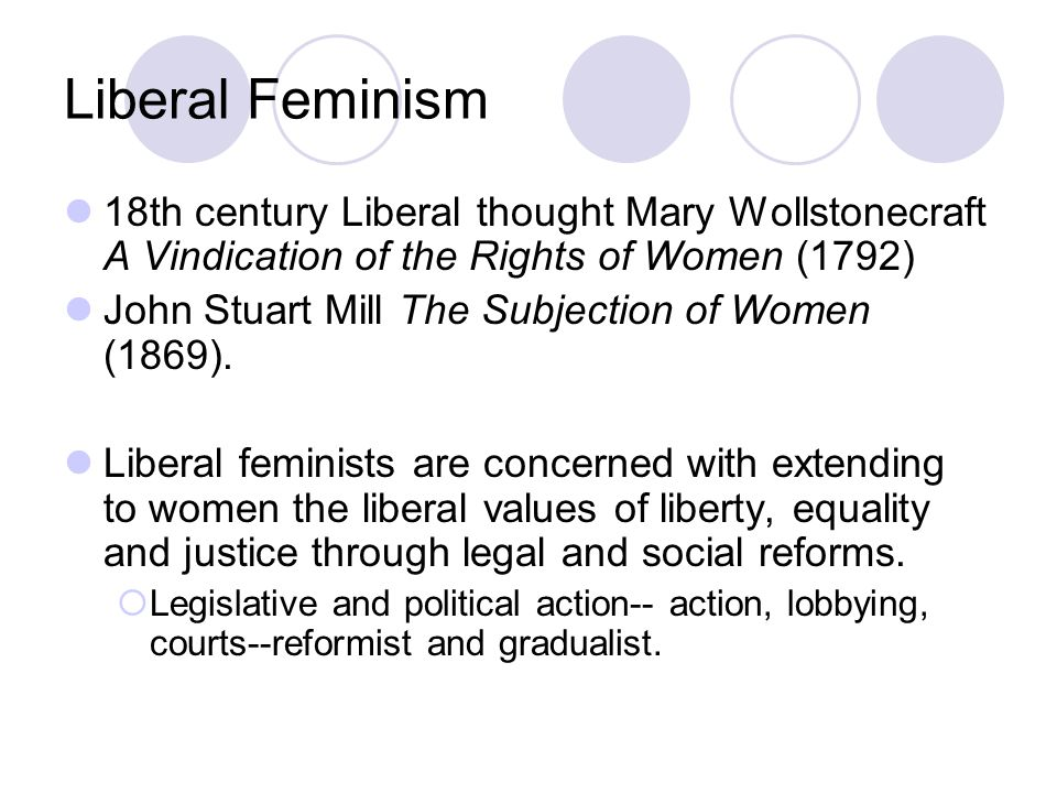 Liberal Feminism 18th century Liberal thought Mary Wollstonecraft A Vindication of the Rights of Women (1792)
