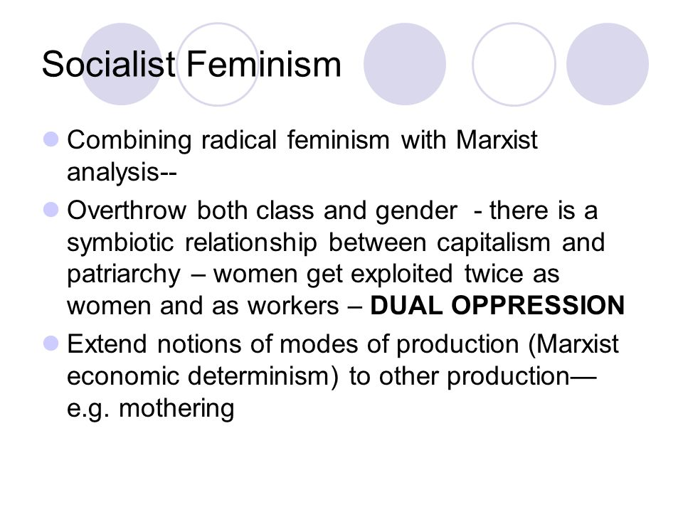 Socialist Feminism Combining radical feminism with Marxist analysis--