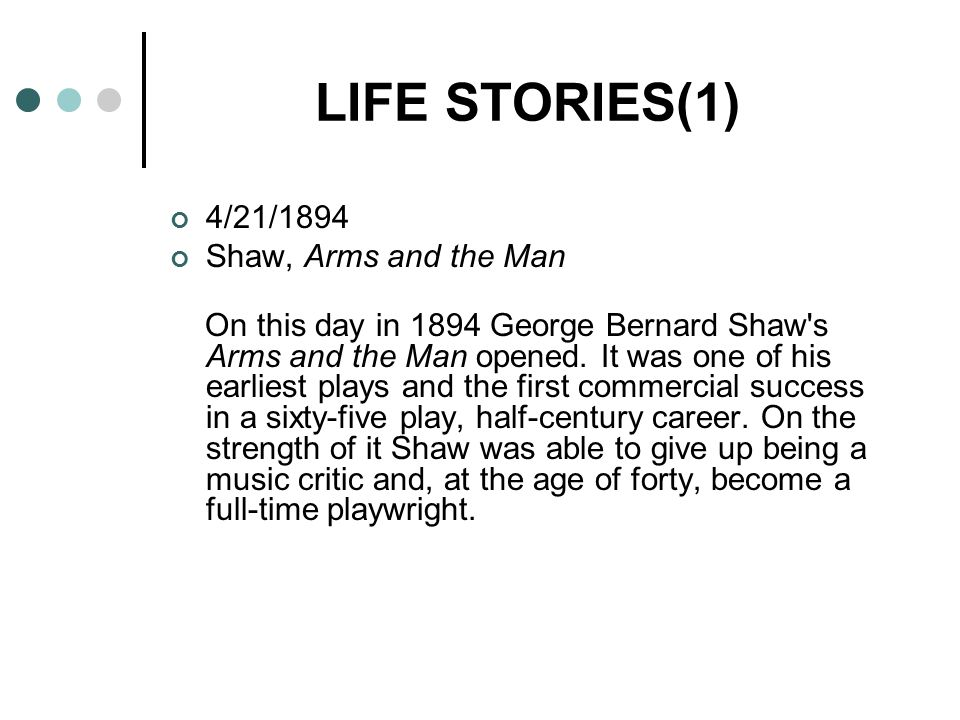 LIFE STORIES(1) 4/21/1894 Shaw, Arms and the Man