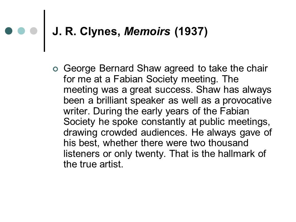 J. R. Clynes, Memoirs (1937)