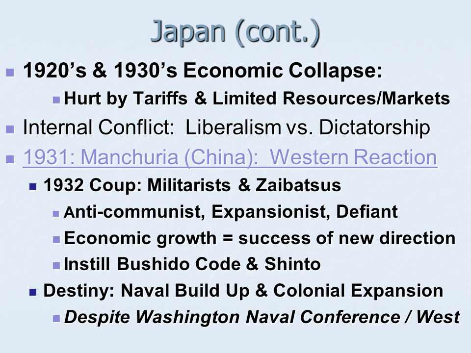 Japan (cont.) 1920's & 1930's Economic Collapse: