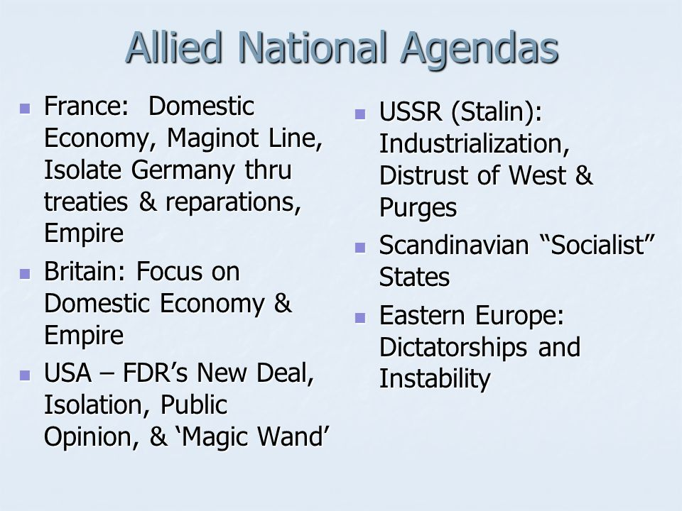 Allied National Agendas