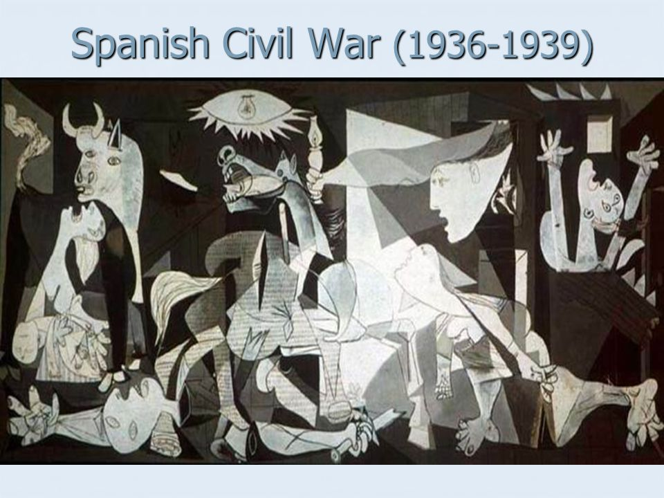 Spanish Civil War (1936-1939) Germany and Italy aid Franco's fascist regime against liberal/socialist national gov't.
