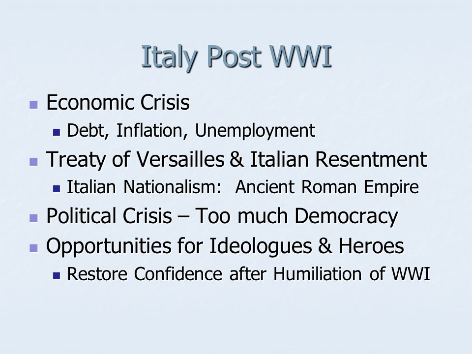 Italy Post WWI Economic Crisis