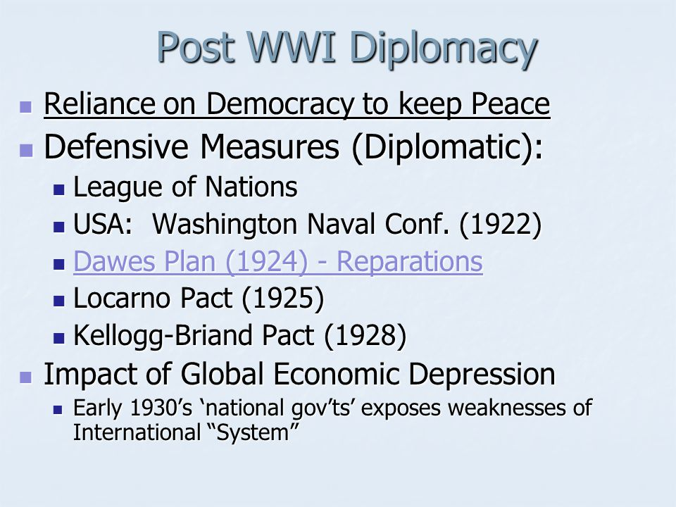 Post WWI Diplomacy Defensive Measures (Diplomatic):