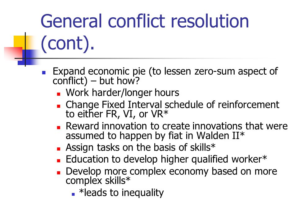 General conflict resolution (cont).