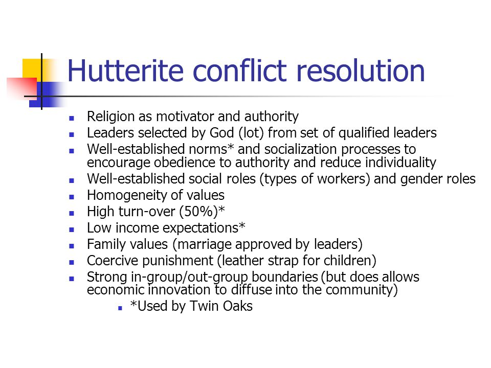 Hutterite conflict resolution