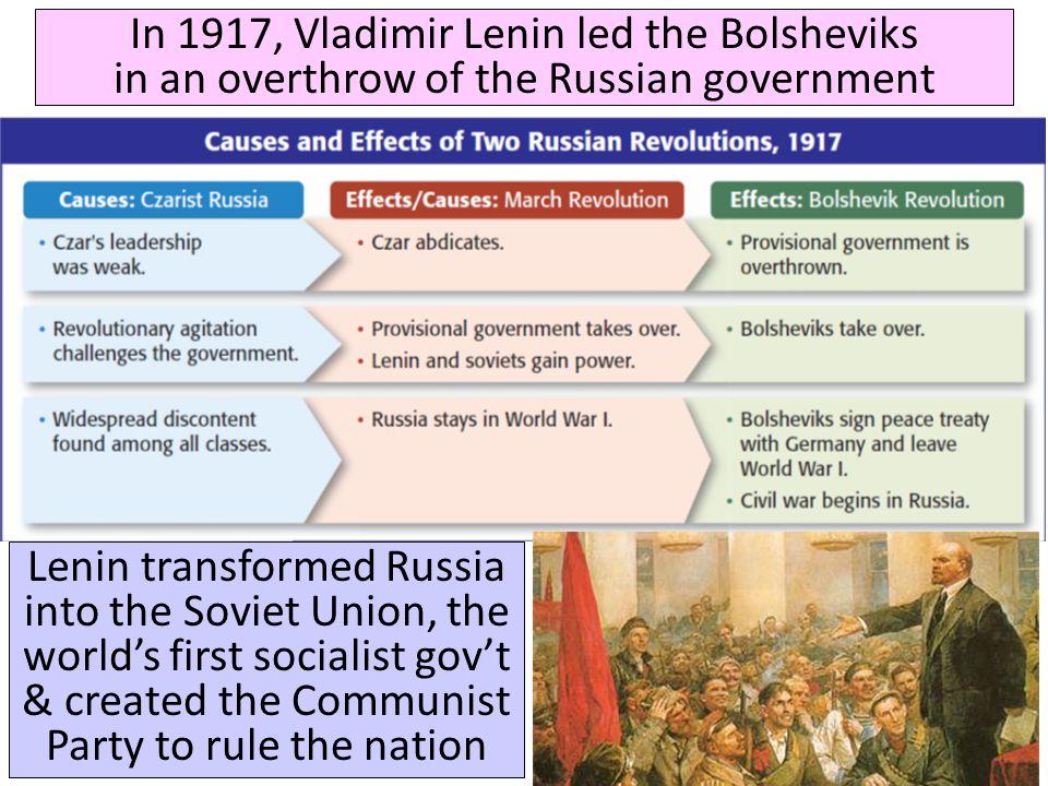 In 1917, Vladimir Lenin led the Bolsheviks in an overthrow of the Russian government