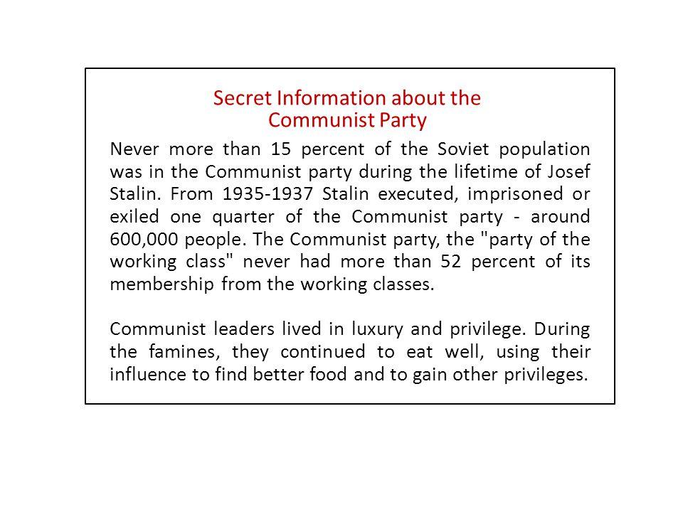 Secret Information about the Communist Party