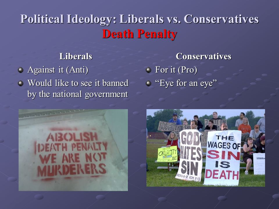 Political Ideology: Liberals vs. Conservatives Death Penalty