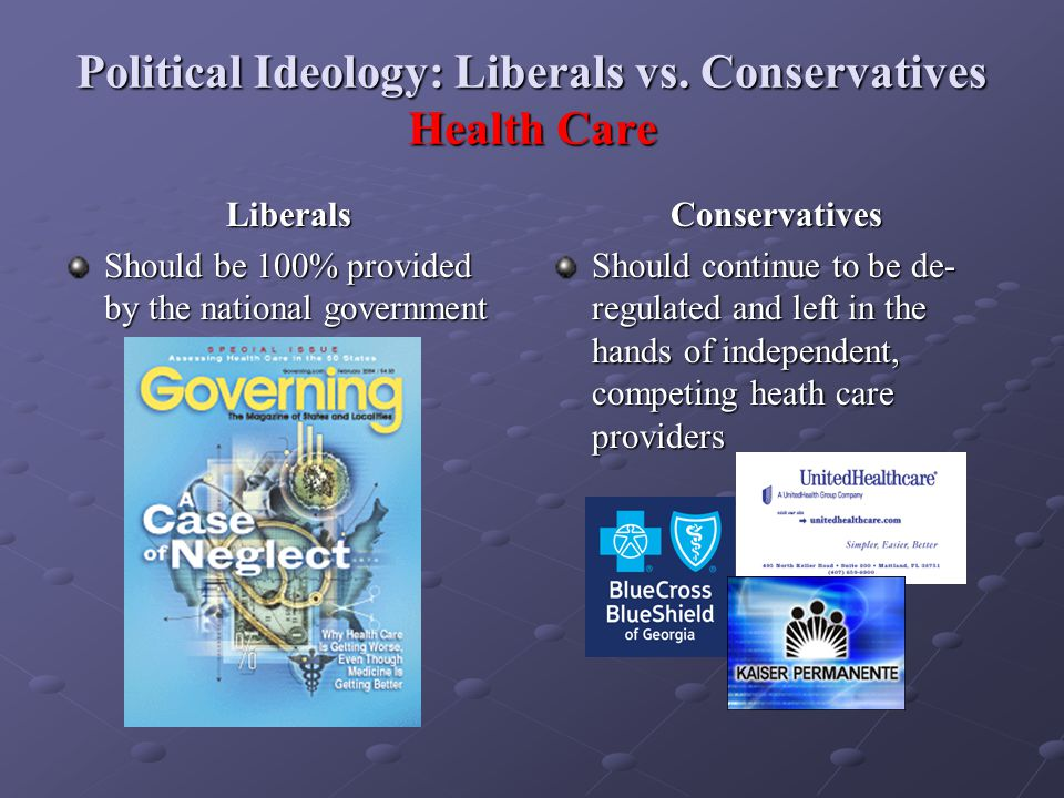 Political Ideology: Liberals vs. Conservatives Health Care