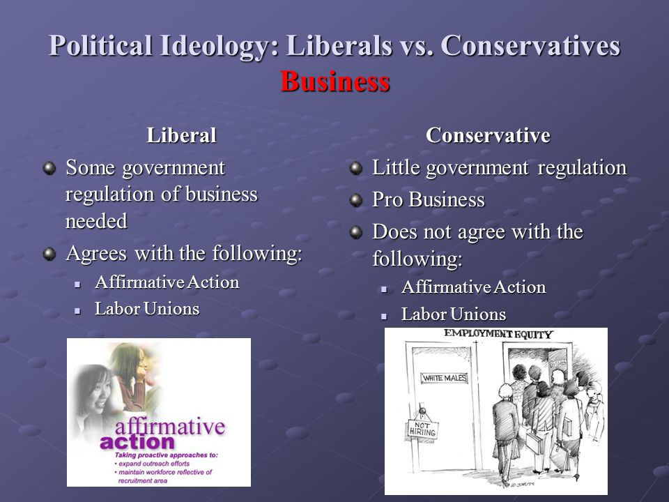 Political Ideology: Liberals vs. Conservatives Business