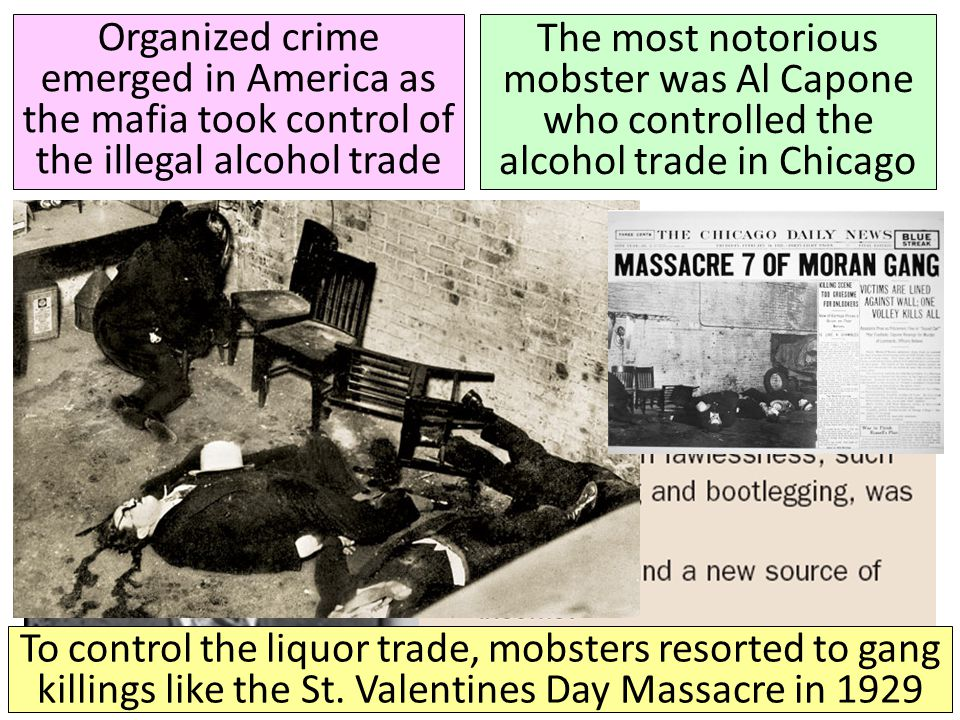 Organized crime emerged in America as the mafia took control of the illegal alcohol trade