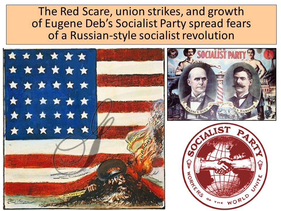 The Red Scare, union strikes, and growth of Eugene Deb's Socialist Party spread fears of a Russian-style socialist revolution