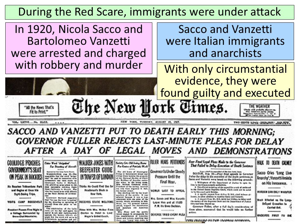 During the Red Scare, immigrants were under attack