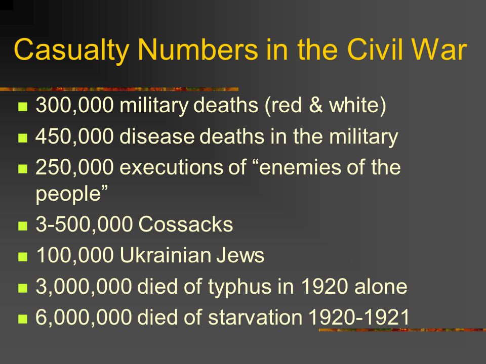 Casualty Numbers in the Civil War