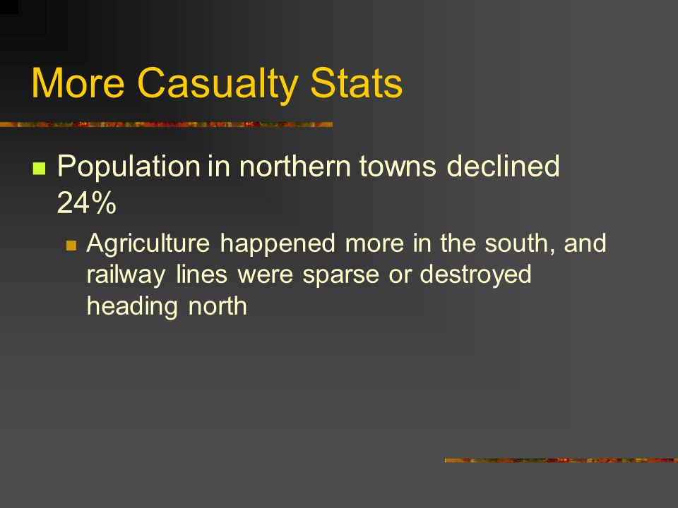 More Casualty Stats Population in northern towns declined 24%
