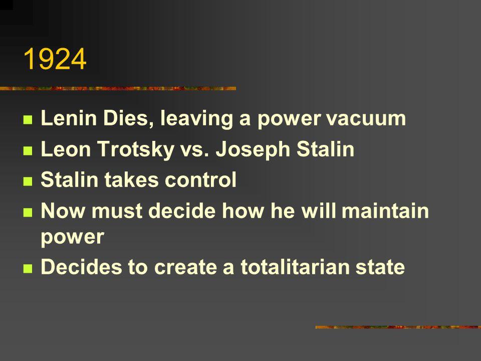 1924 Lenin Dies, leaving a power vacuum Leon Trotsky vs. Joseph Stalin