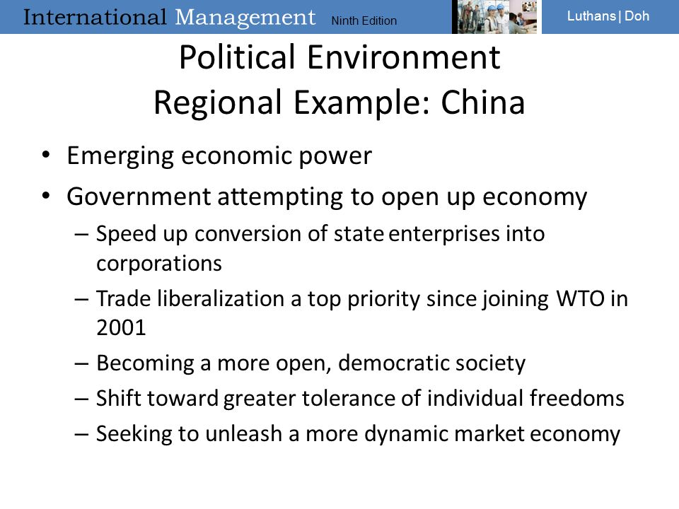 Political Environment Regional Example: China