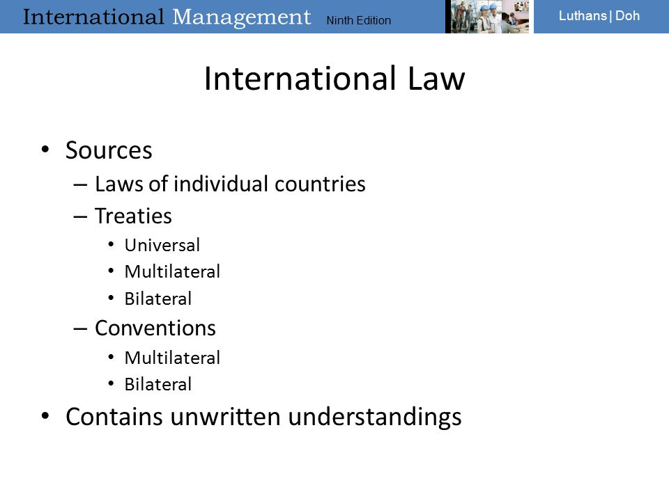 International Law Sources Contains unwritten understandings