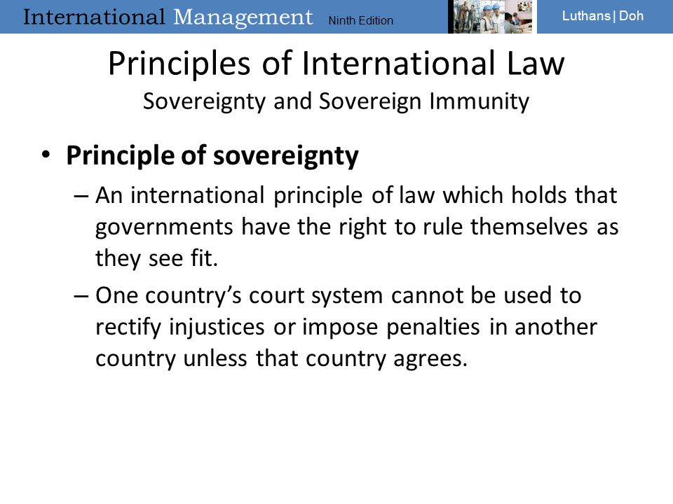 Principles of International Law Sovereignty and Sovereign Immunity