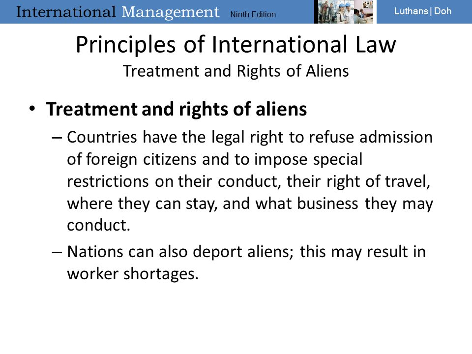 Principles of International Law Treatment and Rights of Aliens