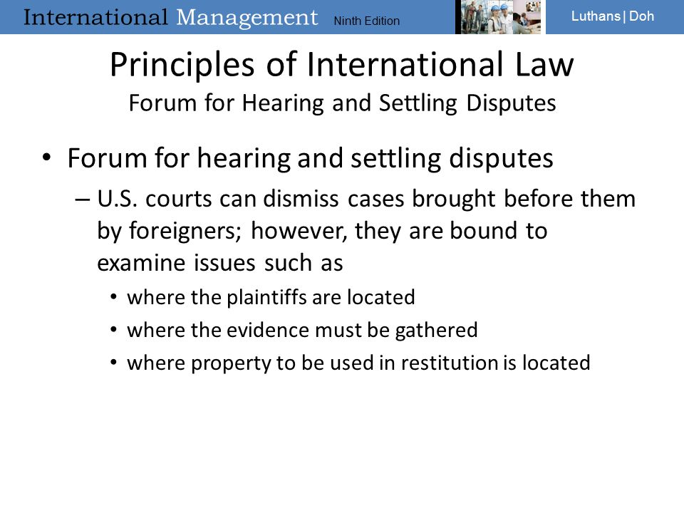 Principles of International Law Forum for Hearing and Settling Disputes