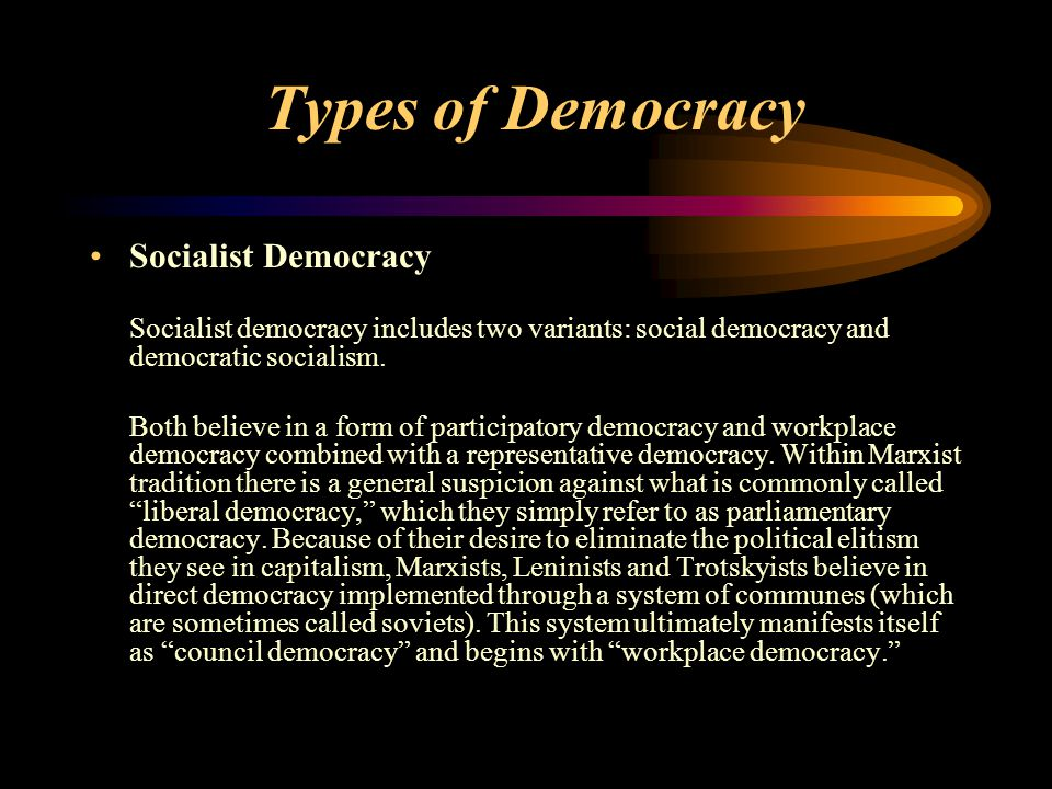 Types of Democracy Socialist Democracy