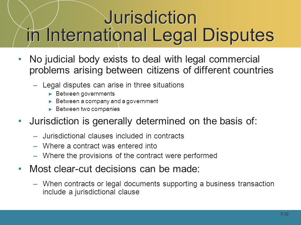 Jurisdiction in International Legal Disputes
