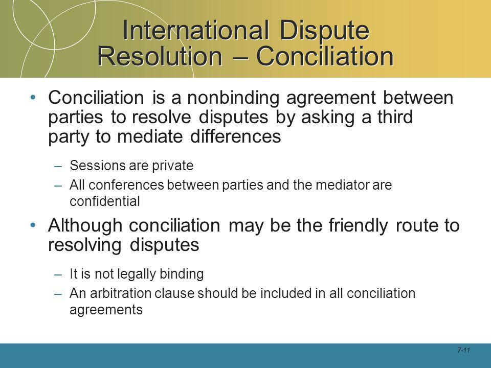 International Dispute Resolution – Conciliation