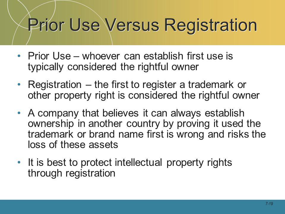 Prior Use Versus Registration