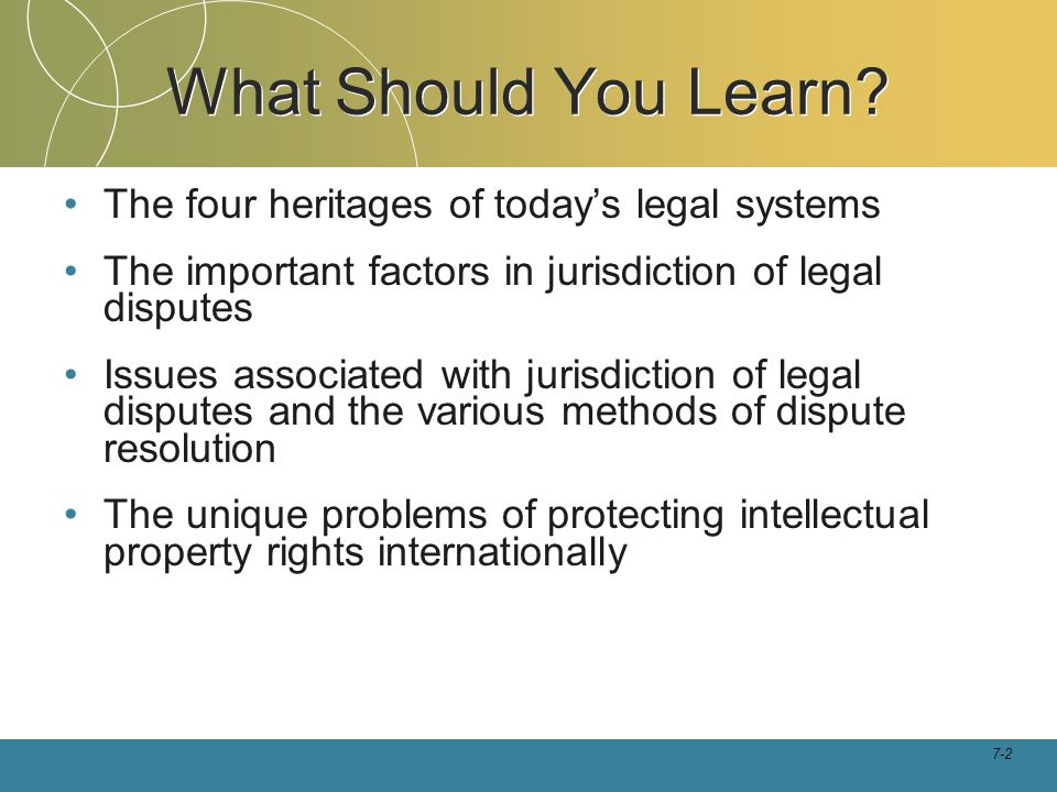 What Should You Learn The four heritages of today's legal systems
