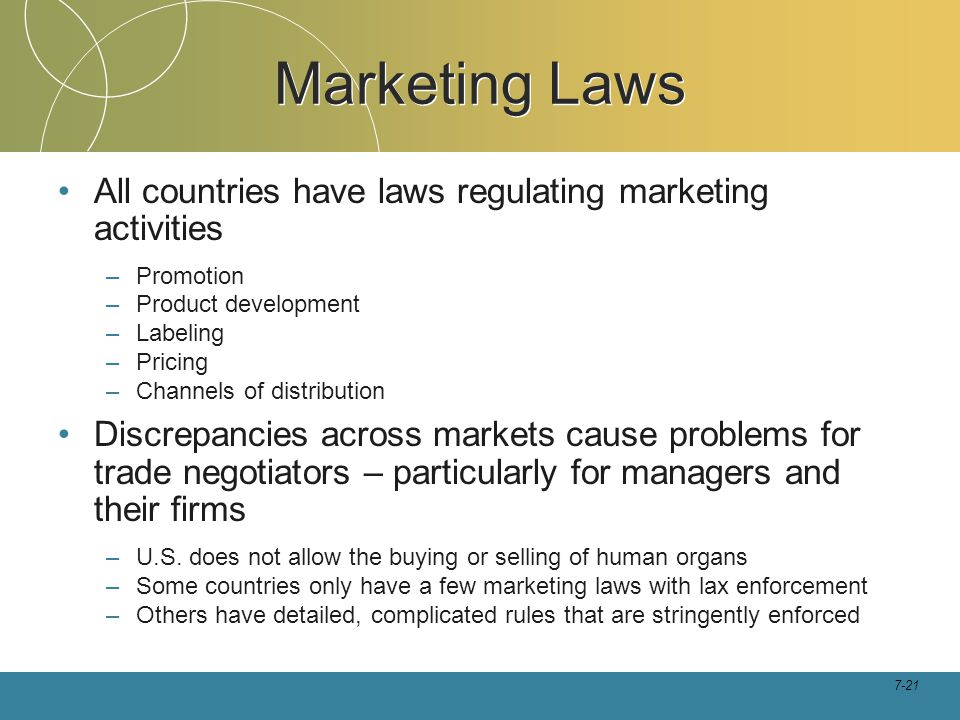 Marketing Laws All countries have laws regulating marketing activities
