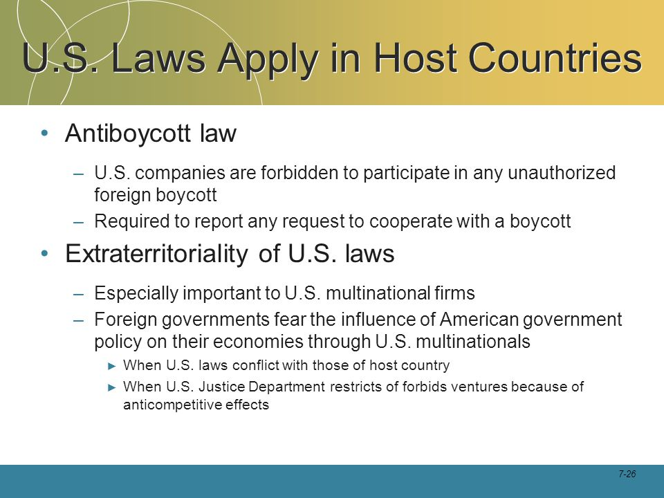 U.S. Laws Apply in Host Countries