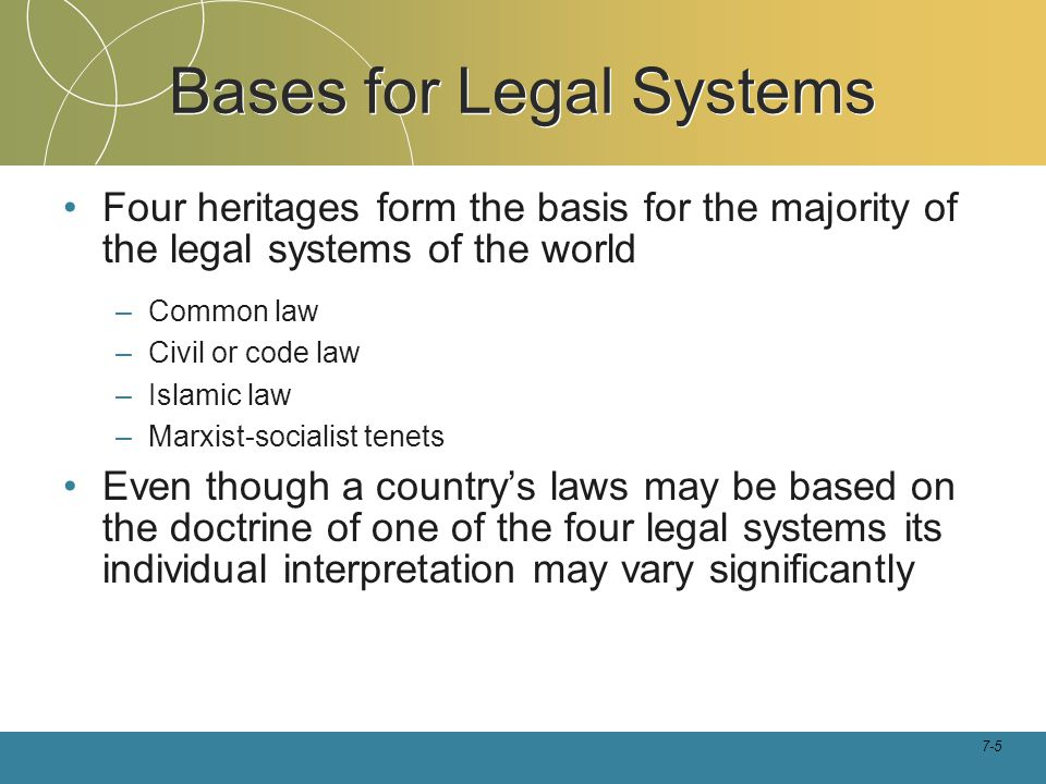 Bases for Legal Systems