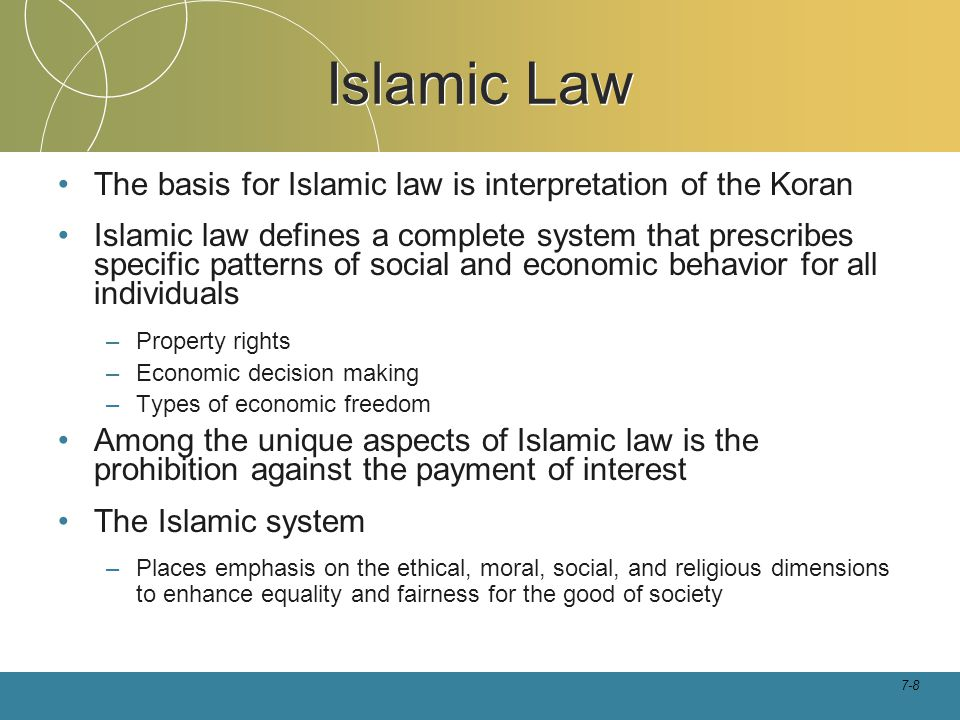 Islamic Law The basis for Islamic law is interpretation of the Koran