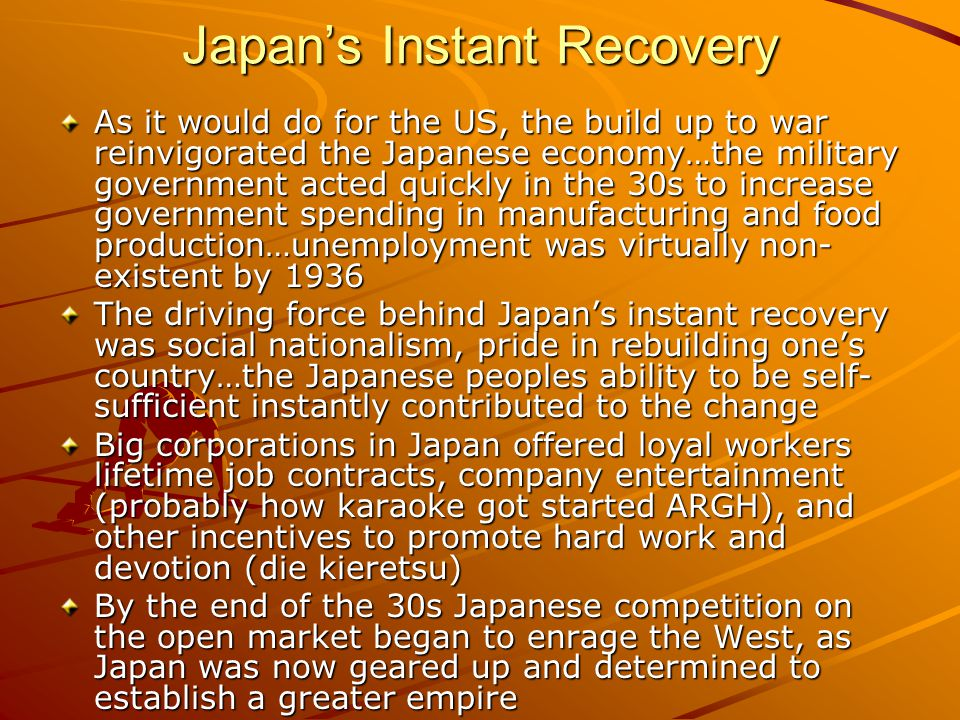 Japan's Instant Recovery