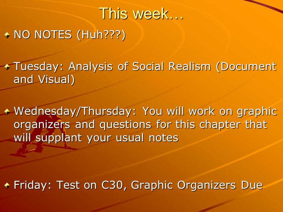 This week… NO NOTES (Huh )